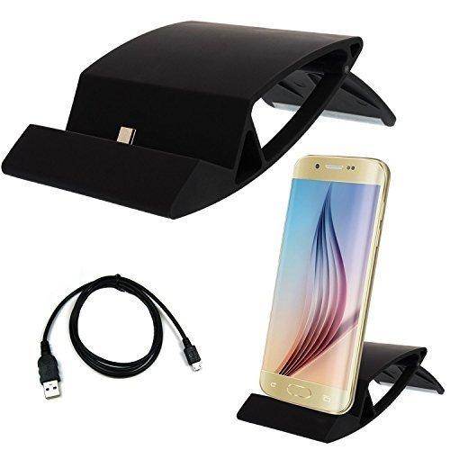 Universal Micro USB Ladestation + Micro USB Kabel für Smartphone Handy für Samsung Galaxy S2 S3 S4 S6 Edge Mini, Alpha 3 5 7, Note 1 2 3 4, Sony Xperia Z4 Z3+ Z3 Z2 Z1 compact Mini, HTC ONE M9 M8 M7 mini, Nokia Lumia 532 535 640 640XL XL 930 Blackberry , LG G2 G2S G3 G3S, Motorola Moto G X, HTC One M7 M8 M9 Butterfly Desire 500 600 601 610 816 Eye Evo 3D, Huawei Honor Ascend P8 P7 P6 G6 P1 Lite , Docking Station Tischladestation Dock Lade - Schwarz