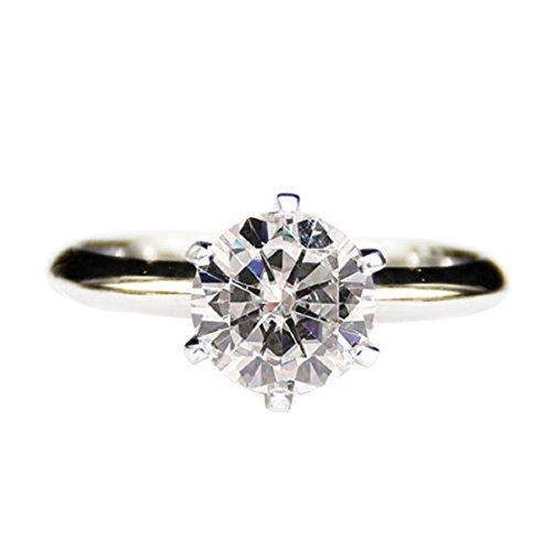 ic Rund 2ct moissanites Lab gewachsen Diamant Solitaire 14K Weiß Gold ()