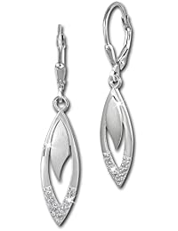 SilberDream Ohrringe Ohrhänger Tropfen Zirkonia weiß aus 925er Sterling Silber Damen Ohrring SDO358M
