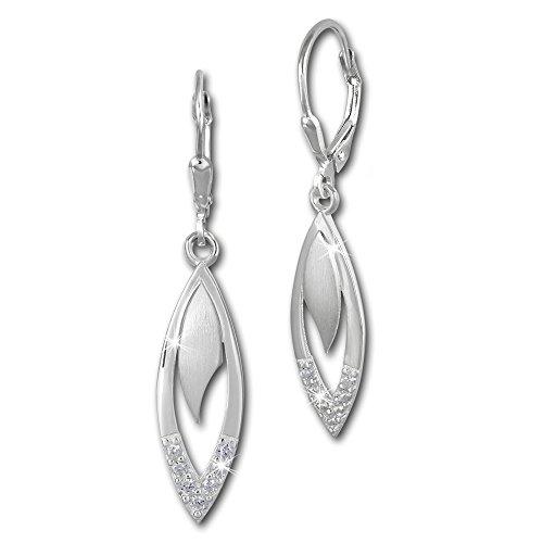 SilberDream Ohrringe Damen 925 Silber Ohrhänger Tropfen Zirkonia weiß SDO358M