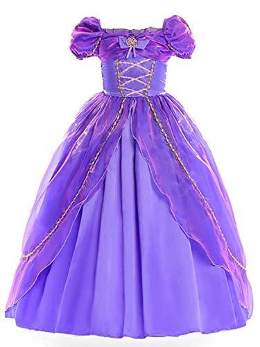 FStory&Winyee Mädchen Prinzessin Sofia Kostüm Lila Kinder Cosplay Tutu Blumen Kleid Märchen Karneval Verkleidung Party Weihnachten Faschingkostüm für Mädchen 3-11 Jahre 110-150