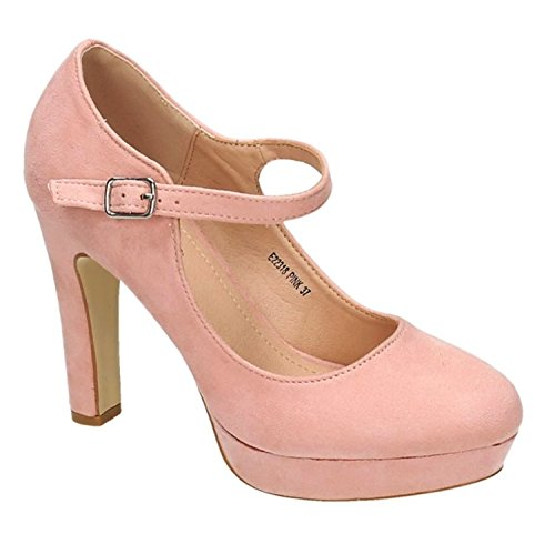 Klassische Mary Janes (Klassische Trendige Damen Mary Jane Riemchen Pumps Stilettos Party High Heels Plateau Schuhe Bequem 18 (39, Pink))