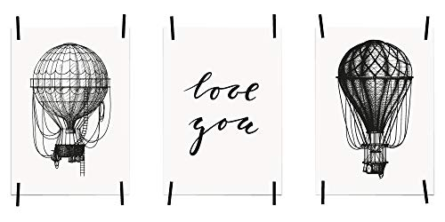 myprinti® 3er Set Bilder Sprüche Poster Kunstdruck Liebe Love | Schlafzimmer Bett Wohnzimmer | Wanddeko Deko | Größe DIN A5 | Heißluftballon weiß, Love You, Heißluftballon schwarz - Groß-poster-bett