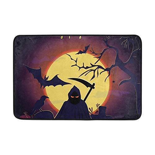 dfegyfr Fußabtreter Halloween Reaper Outdoor Mats, Non Slip Door Mat for Entrance Way Front Door Inside Outside 23.6