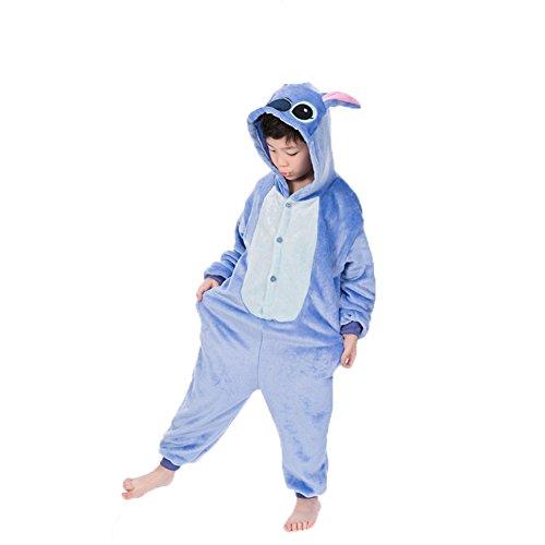 Pyjamas Einteiler Junge Mädchen Kinder Einhorn Tier Kostüm für Fasching Halloween (130, Stich) (Flanell Halloween Kostüm)