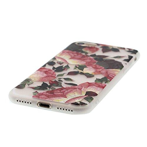 Custodia iPhone 7, Silicone trasparente Cartoon Stile del modello Case Con materiale di alta qualità & morbido & & Ultra sottile iPhone 7 copertura 4.7 Graffi Prova / anguria Rosa fiore