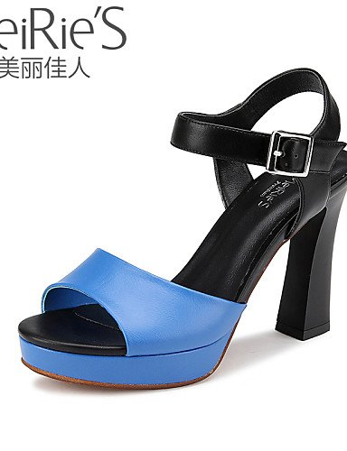 UWSZZ Die Sandalen elegante Comfort Schuhe Frau - Sandalen - Büro und Arbeit/Casual-Heels/Open - Quadrat - Kunstleder - Schwarz/Blau/Weiß Blue