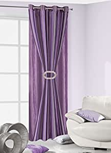 140 x 245 Violet/lilas/prune double rideau voilage gardine rideau 287–mauve/violet-violet