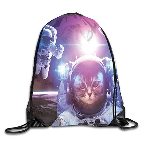 Space Cat Duvet Cover Set, Astronauts In Nebula Galaxy With Eclipse In Saturn Planets Image,Dark Blue White And Purple_2Sport Yoga bag -