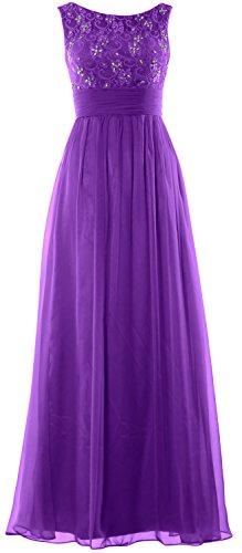 MACloth Women Lace Chiffon Long Prom Dress Wedding Party Formal Evening Gown purple