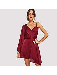 9ee0b18f4 JJHR Vestido Vestido De Fiesta con Hombros Asimétricos con Cuello En V  Sólido Rojo Vestido De Otoño De Las Mujeres…
