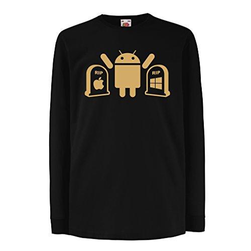 Kinder-T-Shirt mit langen Ärmeln Der Gewinner ist Android - Geschenk für Tech-Fans (9-11 years Schwarz Gold)