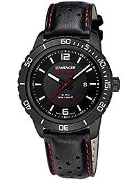 Wenger Unisex-Armbanduhr 01.0851.123 ROADSTER BLACK NIGHT Analog Quarz Leder 01.0851.123 ROADSTER BLACK NIGHT