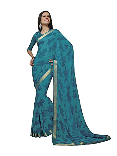 Subhash Sarees Turquoise Color Georgette Printed Saree  available at amazon for Rs.1410