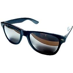 Sonnenbrille. Wayfarer Stil. Schwarz Spiegel Effekt, damen Herren, Black Mirror Effect, M