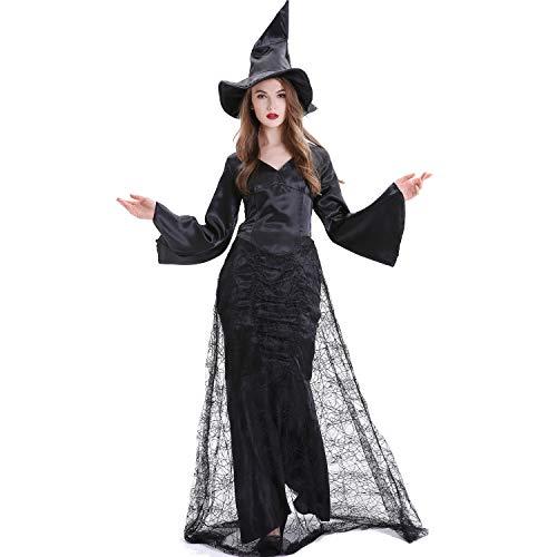 Lady Dark Kostüm Women's - BERTHACC Damen Kostüm Hexe Zauberin Horror Vampir Gothic Dark Lady Halloween Karneval Fasching Verkleidung Groesse,Schwarz,M