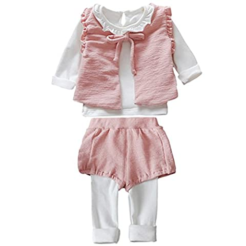 Zhhlaixing Little Girls Clothing Sets Kids Cotton Waistcoat + T-shirt + Leggings Pant Outfits Set pour 1-5 Years Old