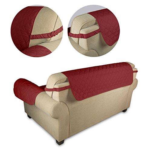 KINLO® Sofahusse 3 Sitzer 167×165 Weinrot Sofa überwurf 100% Baumwolle Füllung - 4