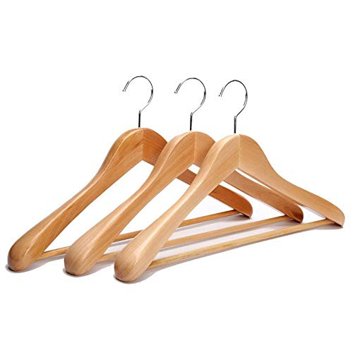 4 Pieces/Lot Extra Wide Rounded Shoulders Wood Coat Hanger Mit Rib Bar Suit Hanger and Polished Chrome Hook, Natural Finish -