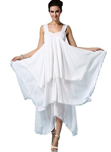 ONECHANCE Frauen Chiffon Spitze ärmellosen Stretchy asymmetrischen weißen Slip Kleid Strap Farbe...