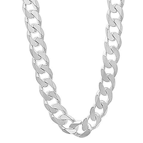 9.2mm Solid 925 Sterling Silver Cuban Curb Link Italian Crafted Chain, 71 cm
