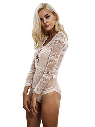 Simplee Apparel Damen Bodysuit Elegant Langarm V-Ausschnitt Lace up Spitze Transparent Bodysuit Langarmshirts Oberteile Apricot