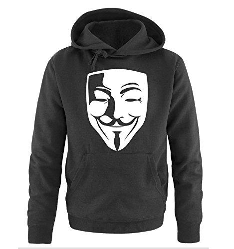 Comedy Shirts - Anonymous Maske - Herren Hoodie in Schwarz / Weiss Gr. XXL