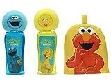 Sesame Street Set Unisex, Vogel Bibokopf Schaumbad 236 ml inklusiv Schwamm, Elmo Schaumbad 236 ml inklusiv Schwamm, Elmo Waschhandschuh, 1er Pack (1 x 472 ml)