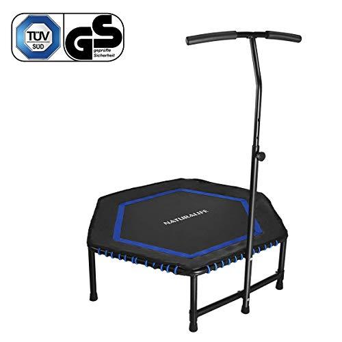 NATURALIFE Mini Fitness-Trampolin mit Griff, 106cm/Fitness Rebounder für Körpertraining und Cardio Workouts, Max bis 120kg Blau