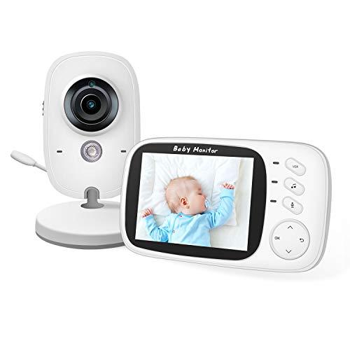 Moniteur Bébé, 2NLF Babyphone Caméra Vidéo Bébé Surveillance Numérique sans Fil avec 3.2 Inches LCD, VOX, Vision Nocturne, Communication Bidirectionnelle, Capteur de Température