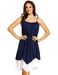 Mia Suri Loose Comfy Spaghetti Strap Layered Beach Summer Holiday Dress for women