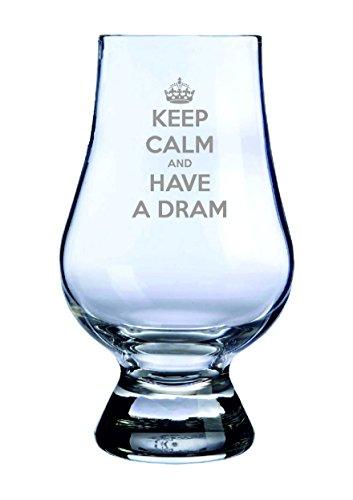 """Glencairn Whisky-Verkostungsglas mit Aufschrift """"Keep Calm and have a Dram"""". Hergestellt in Schottland."""
