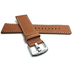 28mm, Tan Genuine Leather Watch Band Strap, Comes in Black or Brown, With White Stitching