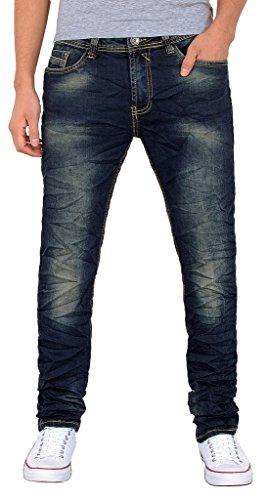 by-tex Herren Basic Jeans Hose Slim Fit Jeanshose Knitteroptik Stretch Jeanshose A414 A414