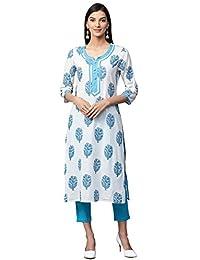 Jaipur Kurti Women White & Blue Printed Cotton Kurta With Trousers