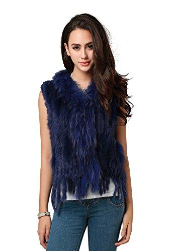 Furcoco® Damen echte Kaninchen Pelz gestrickt Weste mit Fransen Größe M saphirblau (Weste Fell Damen)