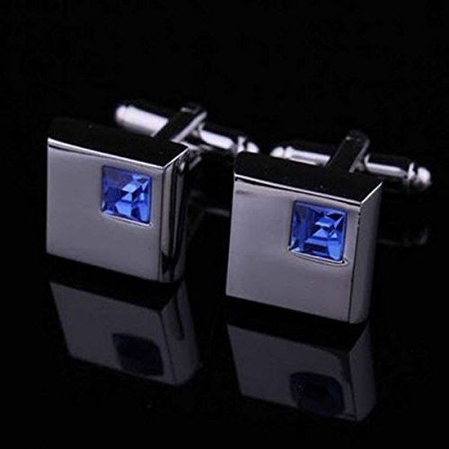 ELECTROPRIME Mens Stainless Steel Wedding Business & Blue Crystal Shirt Cufflinks Xmas