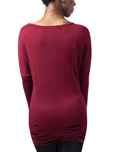 Urban Classics Damen T-Shirt Ladies Cutted Viscose L/S Tee Rot (burgundy 606)