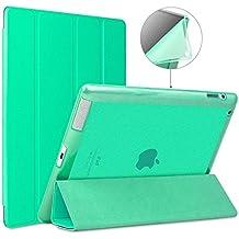 iPad 2/3/4caso, goojodoq Ultra delgado ligero Smart Case Cover con auto sleep/wake función piel sintética de silicona suave TPU translúcido esmerilado parte trasera para Apple iPad 2/3/4 verde verde For iPad 2/3/4