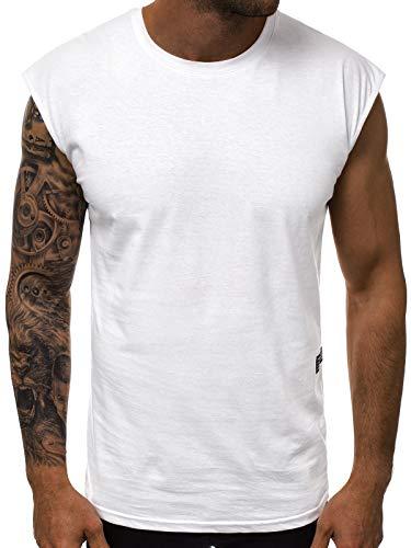 OZONEE Herren Tank Top Tanktop Tankshirt Ärmellos Bodybuilding Shirt Unterhemd T-Shirt Muskelshirt Achselshirt 777/826BO WEIß M