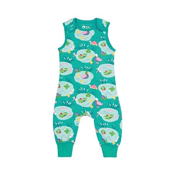 Piccalilly Dungarees para bebé + niño, Suave + cómodo Jersey, algodón orgánico, Unisex Azul acuático Pondlife para niñas… 1