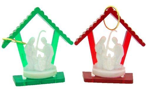 Religiöse Geschenke 2 rote und grüne Krippenfiguren mit Heiligen Familien-Ornamenten Weihnachtsbaum-Dekoration