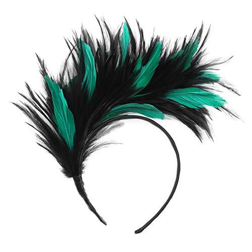 Damen Mädchen 1920er Jahre Federschmuck - Fascinator mit Feder-Stirnband für Frauen 1920er Jahre Festival Party Karneval Kopfbedeckung (Grün + Schwarz) (Die Größe Der Familie Grüner Tee)