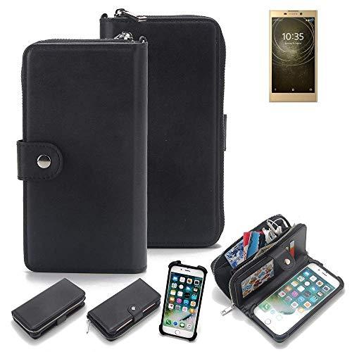 K-S-Trade 2in1 Handyhülle für Sony Xperia L2 Dual-SIM Schutzhülle & Portemonnee Schutzhülle Tasche Handytasche Case Etui Geldbörse Wallet Bookstyle Hülle schwarz (1x)