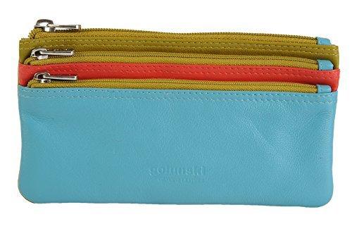 GOLUNSKI Pelle Morbida 3 Sezione Con zip Portamonete 6 COLORI - 0330 - Violablu/Rosa, Large Verde Lime/Arancione/Turchese