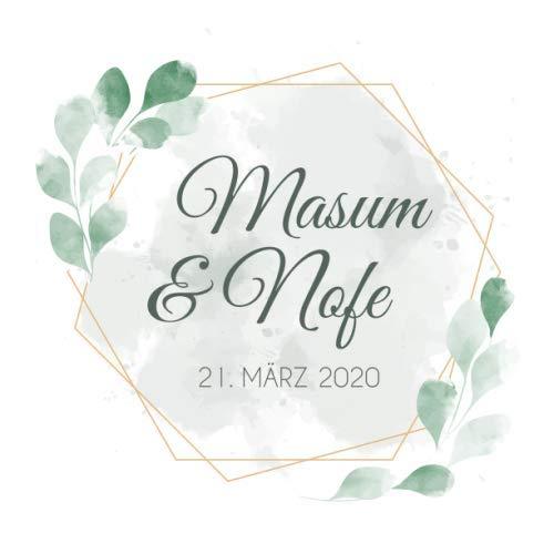 Masum & Nofe: Personalisiertes Gästebuch Hochzeit / Hochzeitsbuch / Eintragebuch mit Fragen, elegantes Design mit goldenen Rahmen und grünen Blättern