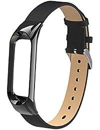 para Correa Xiaomi Mi Band 3,Gusspower Banda de Reloj de Correa de Cuero Deportiva Pulsera Brazalete Ajustable Reemplazo +Carcasa de Acero Inoxidable Diseño único