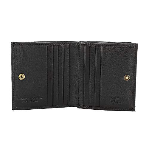 Petit Portefeuille pour Homme en Cuir avec Porte-Monnaie et Porte-Cartes de crédit de Nuvola Pelle Noir