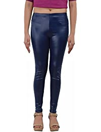 Timbre Women's Leather Blue Leggings