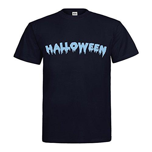 (MDMA T-Shirt Halloween Schriftzug N14-mdma-t00733-101 Textil navy / Motiv himmelblau Gr. S)